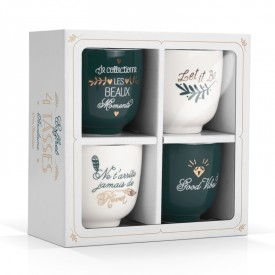 Coffret 4 tasses porcelaine by Créa bisontine