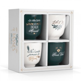 Coffret 4 tasses porcelaine